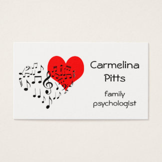 Red Heart Music Notes Family customizable Business Card
