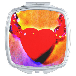 Red Heart Necklace Compact Mirrors