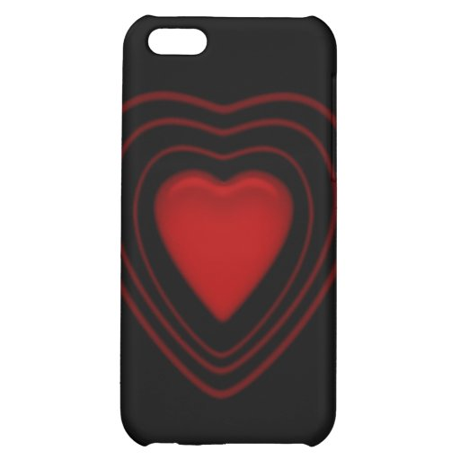 red heart on black iPhone 5C case