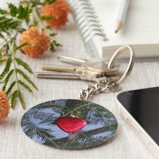 Red Heart on Pine Branch Key Ring