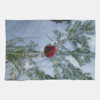 Red Heart on Pine Branch Kitchen Towel
