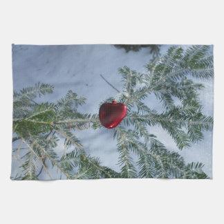 Red Heart on Pine Branch Tea Towel