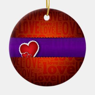 Red heart paper classic valentine s day round ceramic decoration