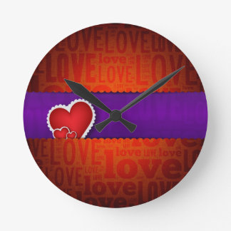 Red heart paper classic valentine s day wall clock