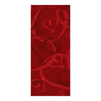 Red heart pattern 10 cm x 24 cm invitation card