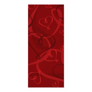 Red heart pattern 10 cm x 24 cm invitation card
