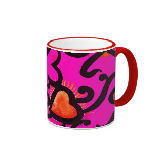 Red Heart Pattern in Pink Mugs