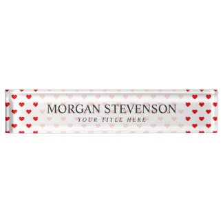 Red Heart Pattern Love Name Plate