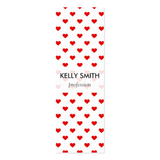 Red Heart Pattern Love Pack Of Skinny Business Cards