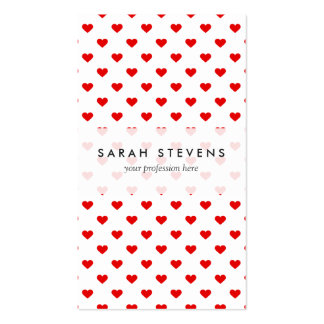 Red Heart Pattern Love Pack Of Standard Business Cards