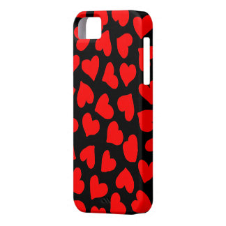 Red Heart Pattern on Black iPhone 5 Cover