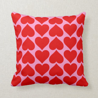 Red Heart Pattern on Pink Valentine Custom Color Cushion