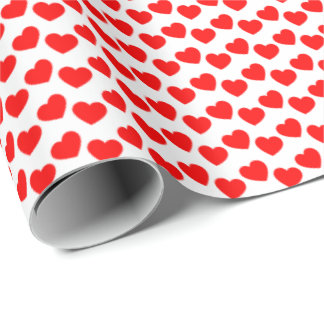 Red Heart Pattern on White Wrapping Paper