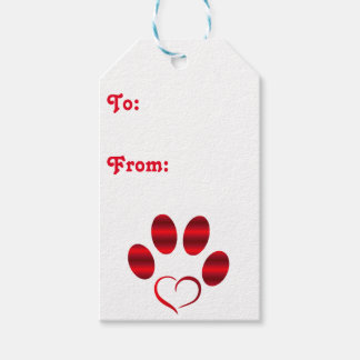 Red Heart Paw Gift Tags