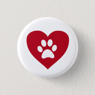 Red Heart Paw Print Button