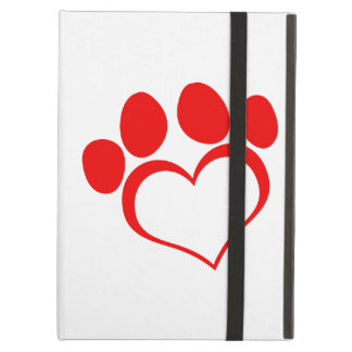 Red Heart Paw Print iPad Air Covers
