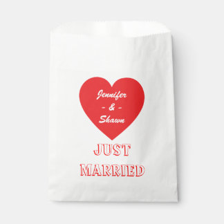Red Heart Personalized Just Married Wedding Favour Bag