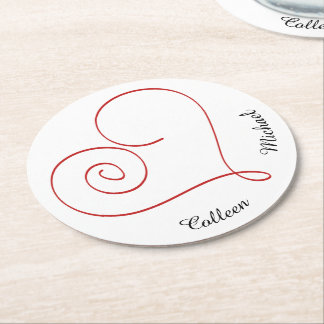 Red Heart Personalized Sweetheart Round Paper Coaster
