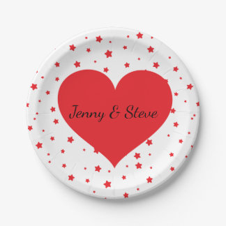 Red heart personalized Valentine's Day paper plate