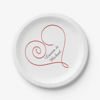 Red Heart Personalized Wedding Paper Plate