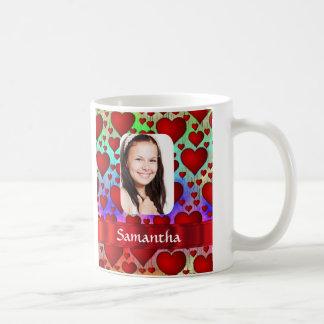 Red heart photo template mugs