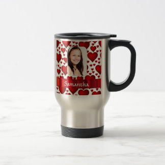 Red heart photo template coffee mugs