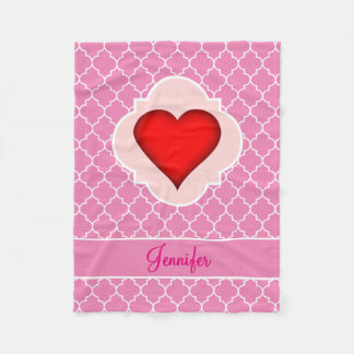 Red Heart Pink Quatrefoil with Name Fleece Blanket