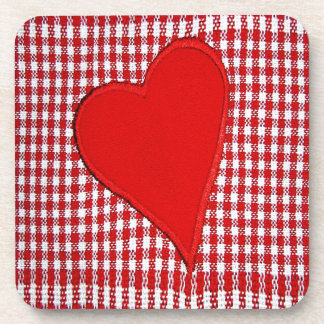 Red Heart Plaid Pattern Beverage Coasters