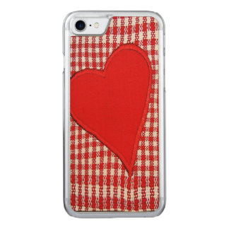 Red Heart Plaid Pattern Carved iPhone 7 Case