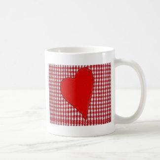 Red Heart Plaid Pattern Coffee Mugs