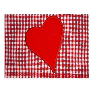 Red Heart Plaid Pattern Postcard