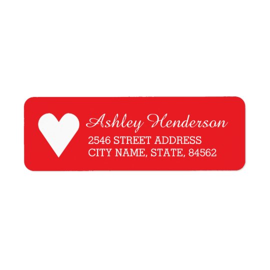 Red Heart Return Address Labels
