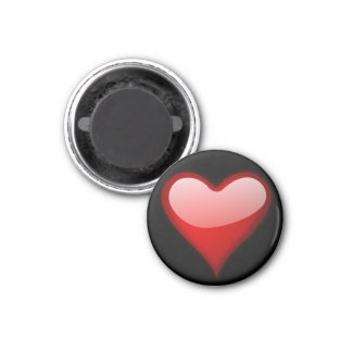 Red Heart Round Magnet