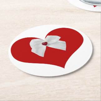 Red Heart Round Paper Coaster