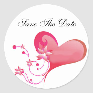 Red Heart Save the Date Envelope Seal Round Sticker