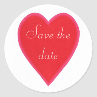 Red Heart Save the date Stickers