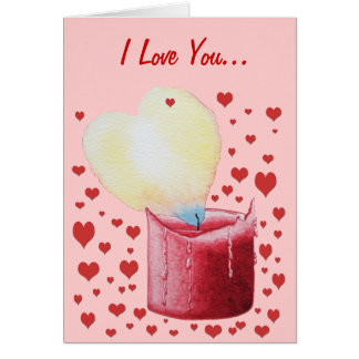 red heart shaped flame candle art painting card