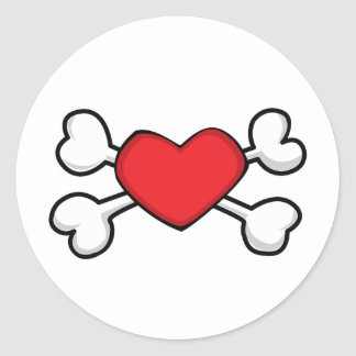 red heart Skull and Crossbones Round Sticker
