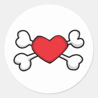 red heart Skull and Crossbones Round Sticker