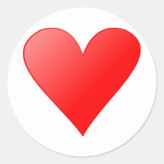 Red Heart Round Sticker