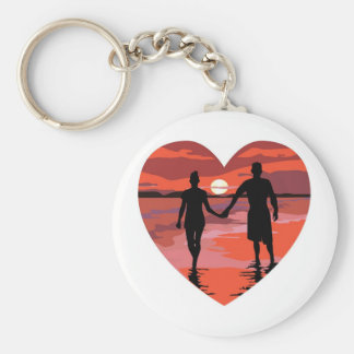 Red Heart Sunset Beach Holding Hands Basic Round Button Key Ring