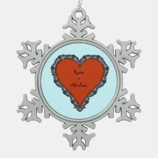 Red Heart Surrounded by Black Lace w/ couples text Pewter Snowflake Ornament