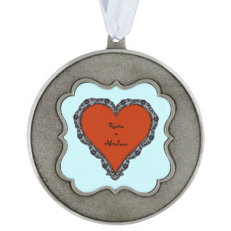 Red Heart Surrounded by Black Lace w/ couples text Scalloped Pewter Ornament