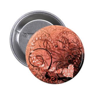 Red Heart Swirls 6 Cm Round Badge