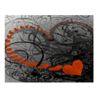 Red Heart Swirls Postcards
