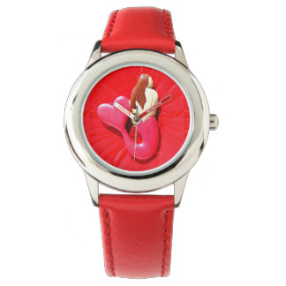 red heart-tail mermaid wrist watches