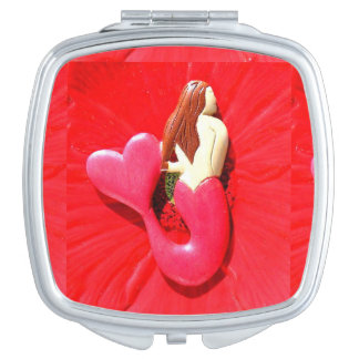 red heart-tailed mermaid makeup mirrors