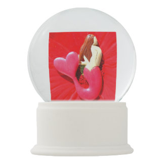 red heart-tailed mermaid snow globes