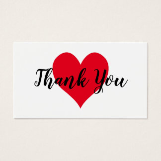 Red Heart Thank You Business Card