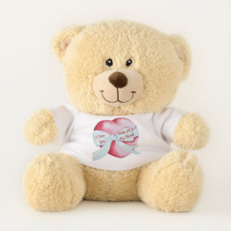 red heart tied with white ribbon bow love teddy bear